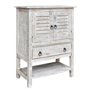 CRESTVIEW COLLECTIONSBengal Manor Mango Wood 2 Door 1 Drawer White Wash Accent Chest