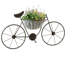 Wall Mounted Bicycle with Galvanized Planter