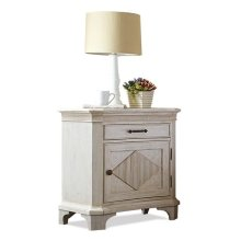 Aberdeen Door Nightstand Weathered Worn White finish