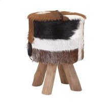 Andros Teak and Animal Hide Stool