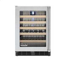 """24"""" Undercounter Wine Cellar, Clear Glass, Left Hinge/Right Handle"""