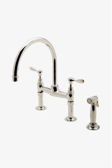 Easton Vintage Two Hole Bridge Gooseneck Kitchen Faucet, Metal Lever Handles and Spray STYLE: EAKM42