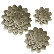 Set of 3 Metal Bloom Wall Sculptures