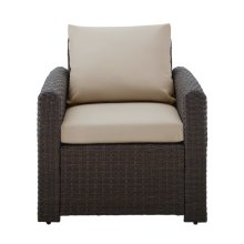 Wicker-Look Upholstered Outdoor Accent Chairs in Chocolate Brown / Beige (Component 1 of 2)