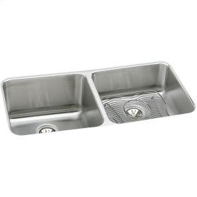 """Elkay Lustertone Classic Stainless Steel 30-3/4"""" x 18-1/2"""" x 10"""", Equal Double Bowl Undermount Sink Kit"""