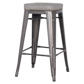 Metropolis KD PU Metal Backless Counter Stool, Vintage Mist Gray