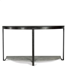 Demilune Sofa Table - Weathered Worn Black Finish