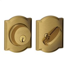 Single Cylinder Deadbolt with Camelot trim - Antique Brass