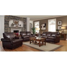 Colton Brown Leather Three-piece Living Room Set