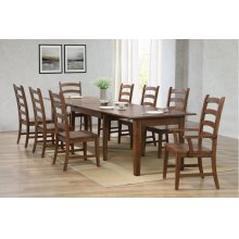 BR-134-AM9PC  Rectangular Extendable Table Dining Set  Amish Brown