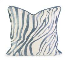 IK Bahari Light Blue Embroidered Linen Pillow with Down Fill