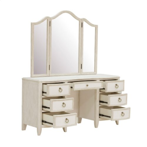 Reece Triple Vanity Mirror in Distressed Cream / White