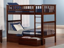 Woodland Bunk Bed Twin over Twin with Flat Panel Bed Drawers in Walnut