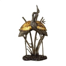 ANTIQUE BRASS AND BRONZE CRANES LAMP