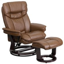 Contemporary Multi-Position Recliner and Curved Ottoman with Swivel Mahogany Wood Base in Palimino Leather