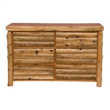 Log Front Six Drawer Dresser - Natural Cedar - Log Front - Premium