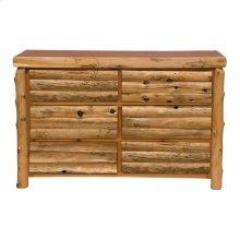 Log Front Six Drawer Dresser - Natural Cedar - Log Front - Premium