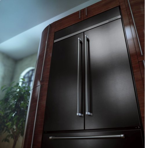 "24.2 Cu. Ft. 42"" Width Built-In Stainless French Door Refrigerator with Platinum Interior Design - Black Stainless"