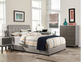 Lusso Full Bed Set - Gray Faux Leather