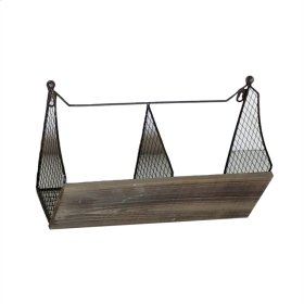 Wire & Wood Double Wall Basket, Brown