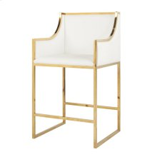 Brass Counterstool With White Pu Leather Upholstery