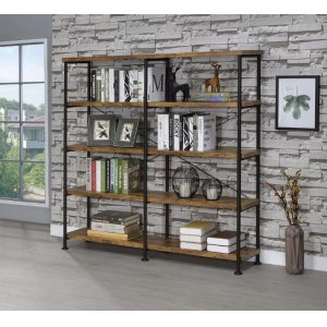 CoasterBarritt Industrial Antique Nutmeg Double-wide Bookcase