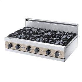 "Taupe 36"" Open Burner Rangetop - VGRT (36"" wide, six burners)"