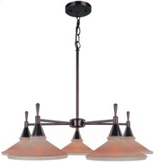 5-lite Ceiling Lamp, Dark Brz W/amber Glass Shade, G60wx5