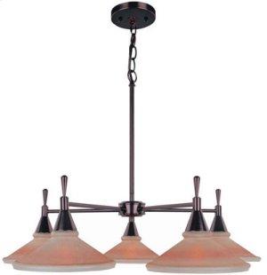5-lite Ceiling Lamp, Dark Brz W/amber Glass Shade, G60wx5