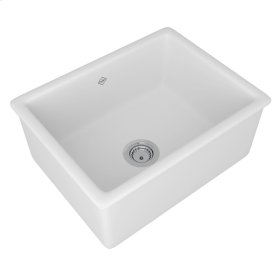 White Shaws Classic 600 Single Bowl Inset Or Undermount Fireclay Secondary Kitchen Or Laundry Sink