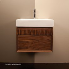 "Wall-mount under-counter vanity with finger pulls on one drawer. The drawer has U-shaped notch for plumbing, 21 1/4""W, 17 5/8""D, 15""H."