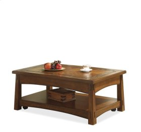 Craftsman Home Lift-Top Coffee Table Americana Oak finish
