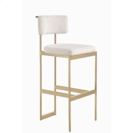 Modern Beige and Brass Bar Stool