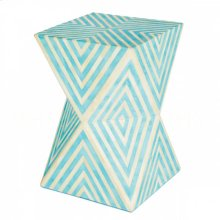 Bay Blue Argyle Side Table-Stool