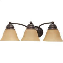3-Lights Wall Mounted Vanity Light Fixture in Mahogany Bronze Finish with Champagne Linen Glass