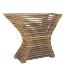 Slatted Wood Console Table, Glass Top