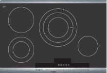 """30"""" Stainless Steel Electric Cooktop with SteelTouch Control and AutoChef® 800 Series - Black and Stainless Steel NET8054UC"""
