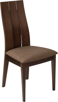 Hadley Espresso Finish Wood Dining Chair with Wide Slat Back and Golden Honey Brown Fabric Seat