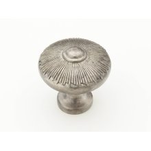 "Solid Brass, Symphony, Sunburst, Round Knob, 1-1/2"" diameter, Silver Antique finish"
