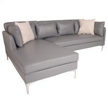Back Bay Upholstered Accent Pillow Back Sectional with Left Side Facing Chaise in Gray Leather