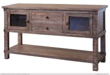 Sofa Table w/2 drawers, 2 glass doors
