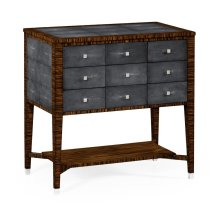 Faux Macassar Ebony & Anthracite Faux Shagreen Chest of Drawers