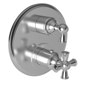 """Satin Gold - PVD 1/2"""" Round Thermostatic Trim Plate with Handle"""