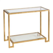 Gold Leafed Console With Beveled Glass Shelves.