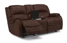 Pure Comfort Fabric Power Reclining Loveseat with Console
