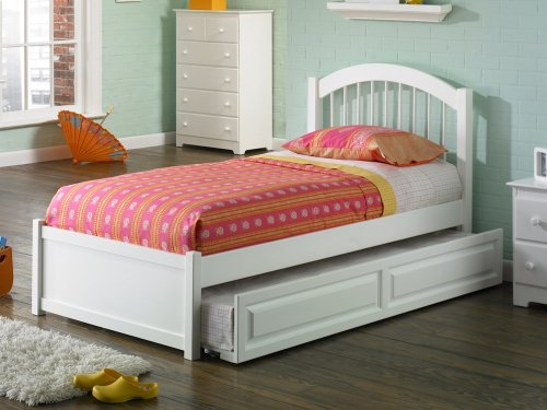 Windsor Full Flat Panel Foot Board with Raised Panel Trundle White