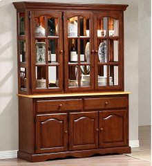 Sunset Trading Treasure Buffet and Lighted Hutch in Nutmeg Light Oak Finish