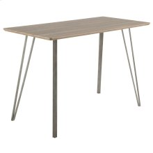 Sedona Counter Table - Brushed Antique Metal, Brown Wood
