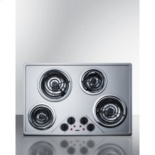 "30"" Wide 230v Electric Cooktop With Four Coil Elements and Stainless Steel Finish"