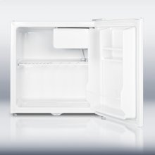 """Value priced """"cube"""" sized compact refrigerator-freezer with front-mounted lock"""